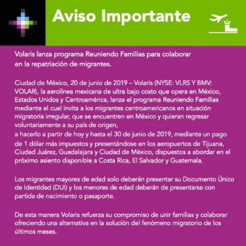 Volaris ofrece vuelos a un dólar para migrantes de Centroamérica