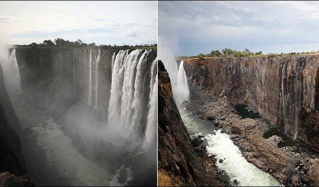 rceni - Cataratas Victoria - el -antes- y -despues- por- los- efectos -del -cambio -climatico-