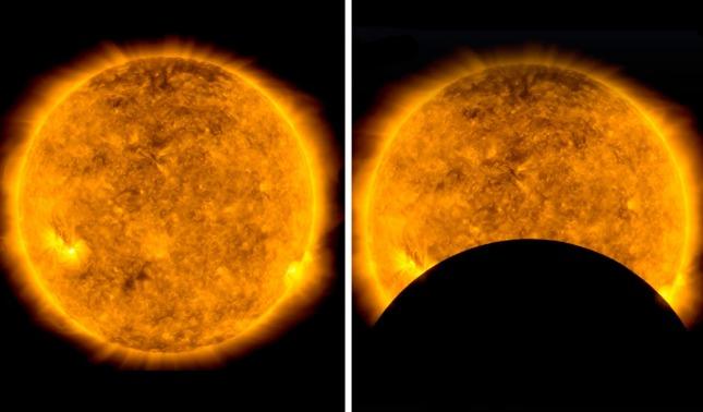 rceni - Tránsito lunar - eclipsa -al -sol- y- es -captado- por -la -nasa- con- un- telescopio-