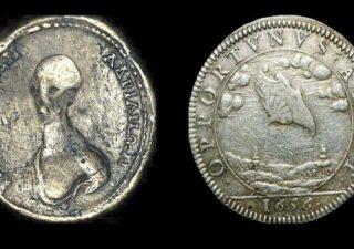 rceni - Moneda con cara de alienígena - muy -antigua -es- descubierta-